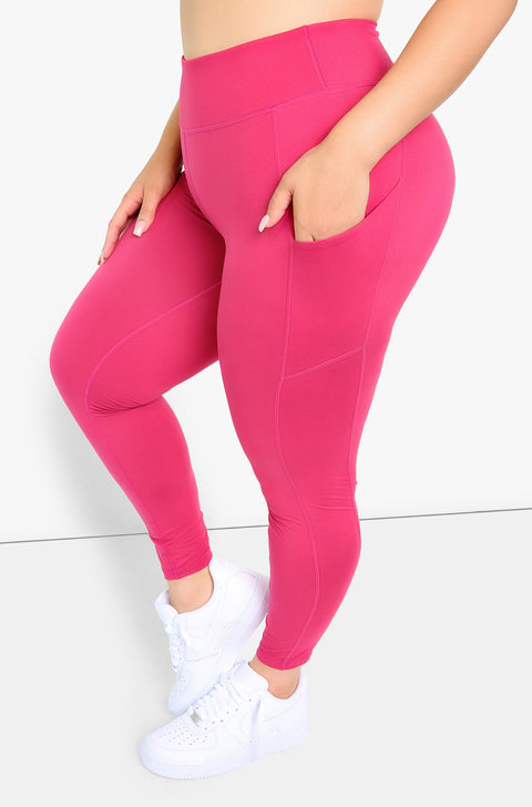 Coral High Waist Leggings Plus Sizes