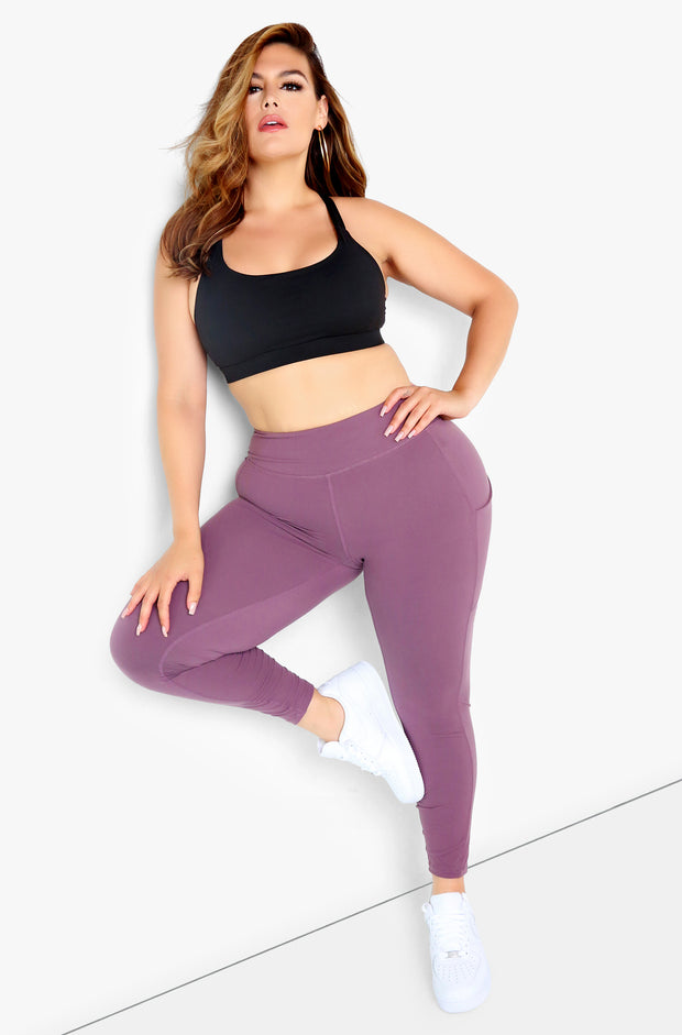 Mauve High Waist Leggings Plus Sizes