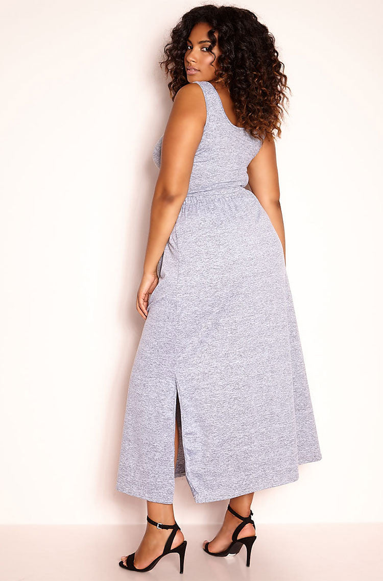 Gray Skater Maxi Skirt plus sizes