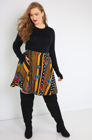 Black Skater Mini Skirt With Pockets Plus Sizes