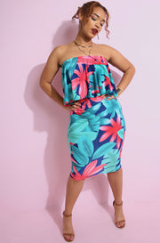 Turquoise Flower print over the shoulder Ruffled Crop Top plus sizes