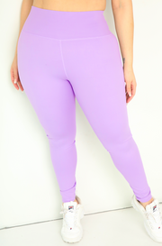 Lavender High Waist Leggings Plus Sizes