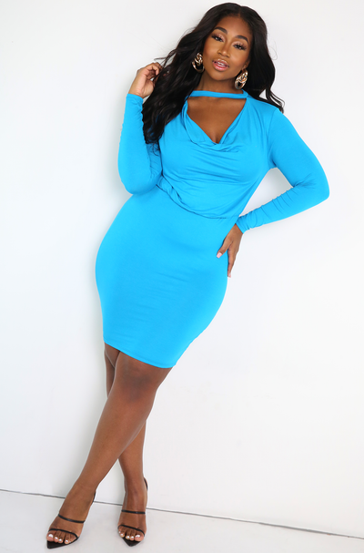 Blue Cowl Neck Mini Dress Plus Sizes