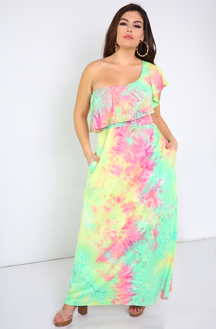 Green One Shoulder Ruffle Maxi Dress With Pockets Plus Sizes