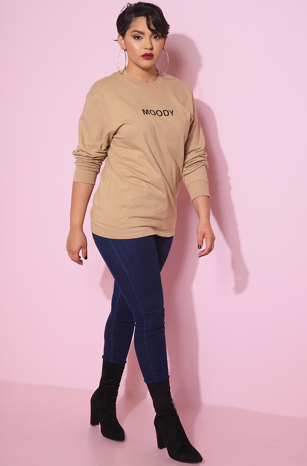 moody Long Sleeve Crew Neck Mocha Crop Top plus sizes