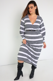 White Long Sleeve Maxi Dress Plus Sizes