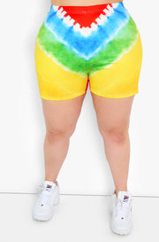 Yellow Tie Dye Short Leggings Plus Sizes