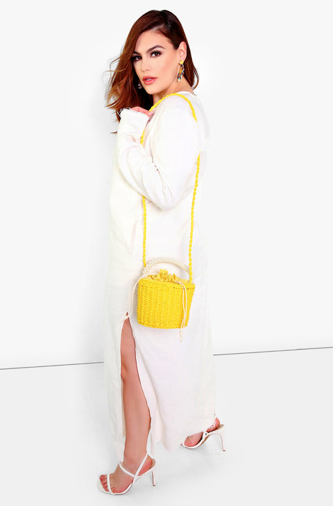Yellow Beaded Straw Tote Bag