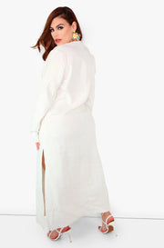 Linen Maxi Long Sleeve Slip Dress w. Pockets Plus sizes
