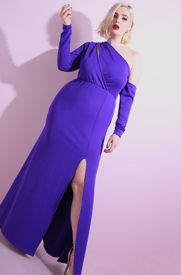 Purple Side Slit Bodycon Maxi Gown plus sizes
