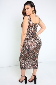 Brown Squared Neckline Bodycon Midi Dress Plus Sizes