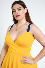 Golden Yellow Sweetheart Skater Mini Dress With Pockets Plus Sizes