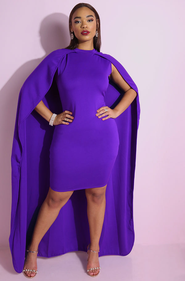 "Rebdolls ""Mounting Pressure"" Mini Bodycon Dress With Cape"