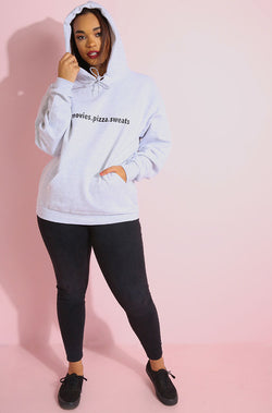 Movies, Pizza, Sweats Chill Out Gray Hoodie plus sizes