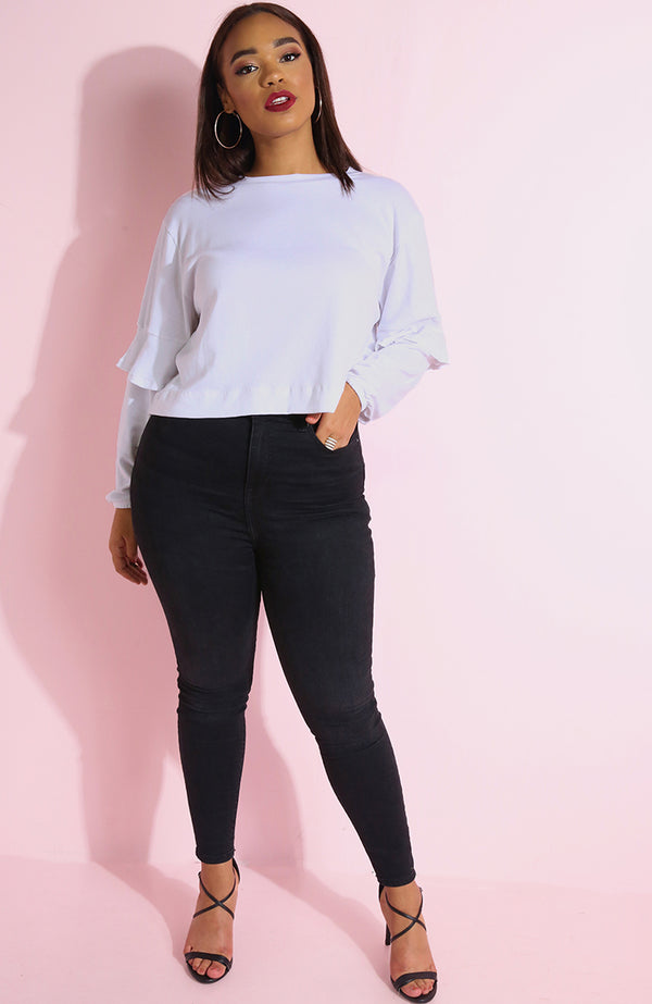 "Rebdolls ""Mrs. Right "" Ruffle Sleeve Crop Top"