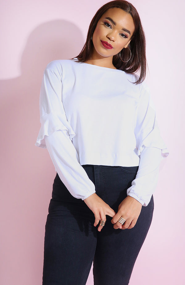 White Ruffle Sleeve Crop Top plus sizes