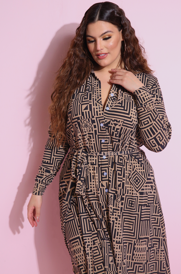 Brown Button Down A-Line Midi Dress Plus Sizes