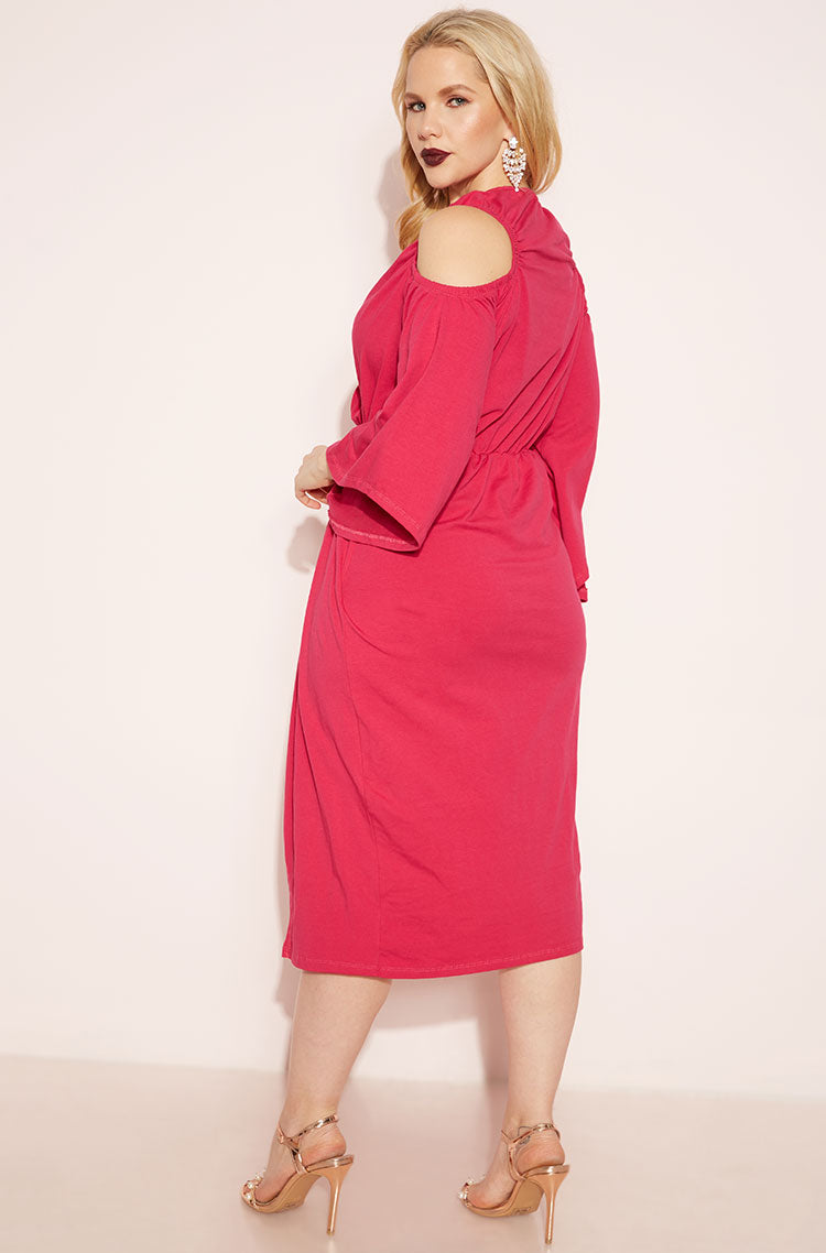 Fuchsia Cold Shoulder Knotted Dress plus sizes