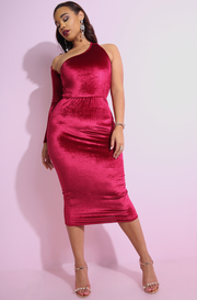 Burgundy Velvet cocktail one sleeve midi dress plus sizes