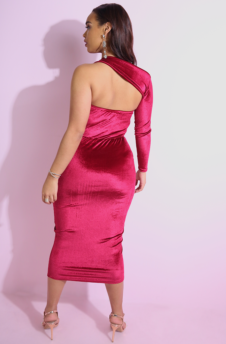 Burgundy Velvet Wrap Around One Sleeve Bodycon Midi Dress