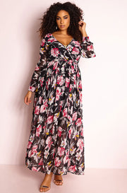 Black Chiffon Skater Maxi Dress plus sizes