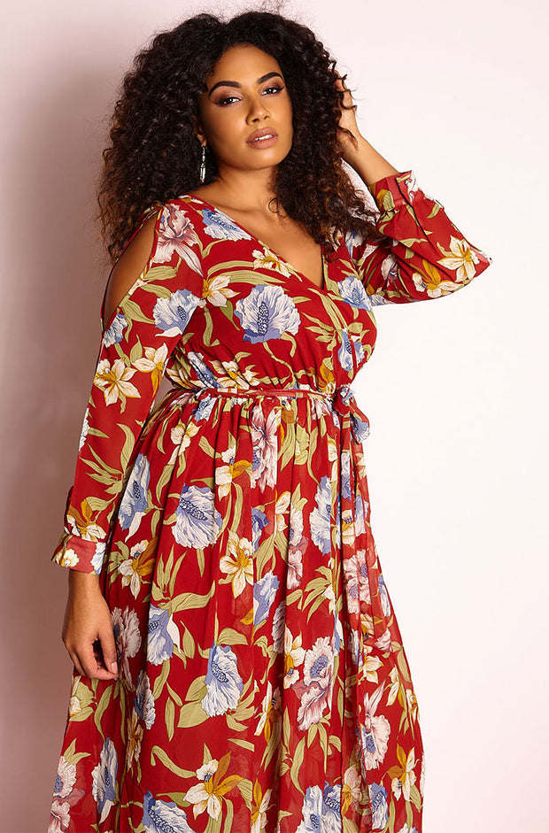 Burgundy Chiffon Skater Maxi Dress plus sizes