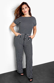 Black Striped Wide Leg Jumpsuit Plus Sizes
