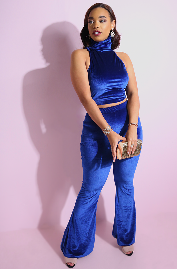 Royal Blue Turtleneck Sleeveless Crop Top plus sizes