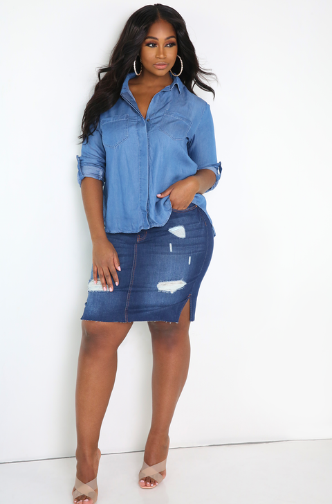 Blue Button Down Blouse Plus Sizes
