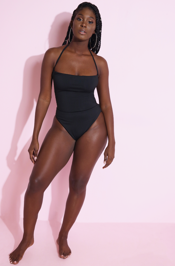 Black Lace Back One Piece Swimsuit Plus Sizes