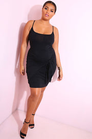 Black Hip Tie Detail Bodycon Mini Dress plus sizes