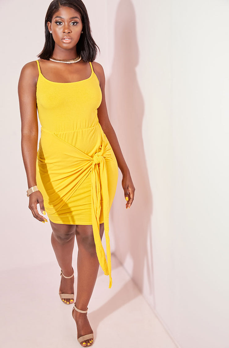 Yellow Hip Tie Detail Bodycon Mini Dress plus sizes