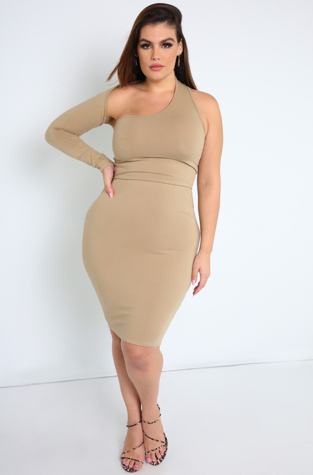 Nude One Shoulder Bodycon Mini Dress Plus Sizes