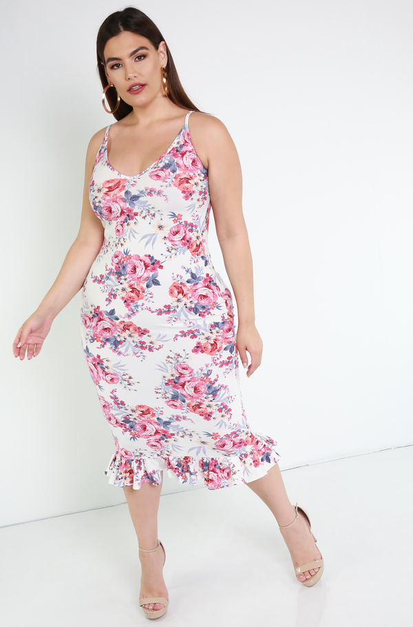 White Ruffled Hem Floral Midi Dress Plus Sizes
