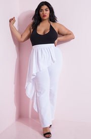 White Ruffled Peplum Pants Plus Sizes