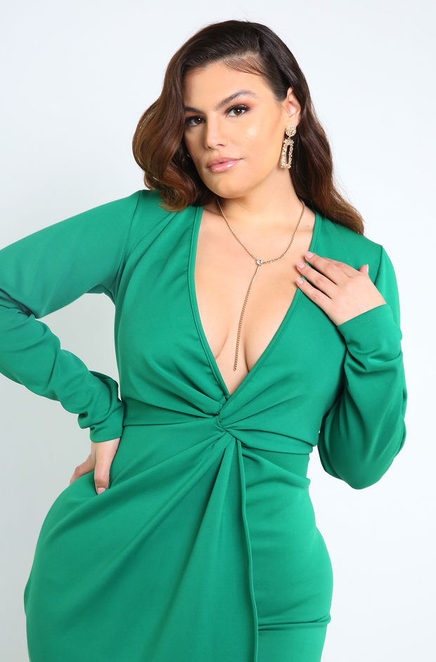 Green Knotted Mini Dress Plus Sizes