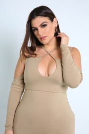 Nude Caged Bodycon Mini Dress Plus Sizes
