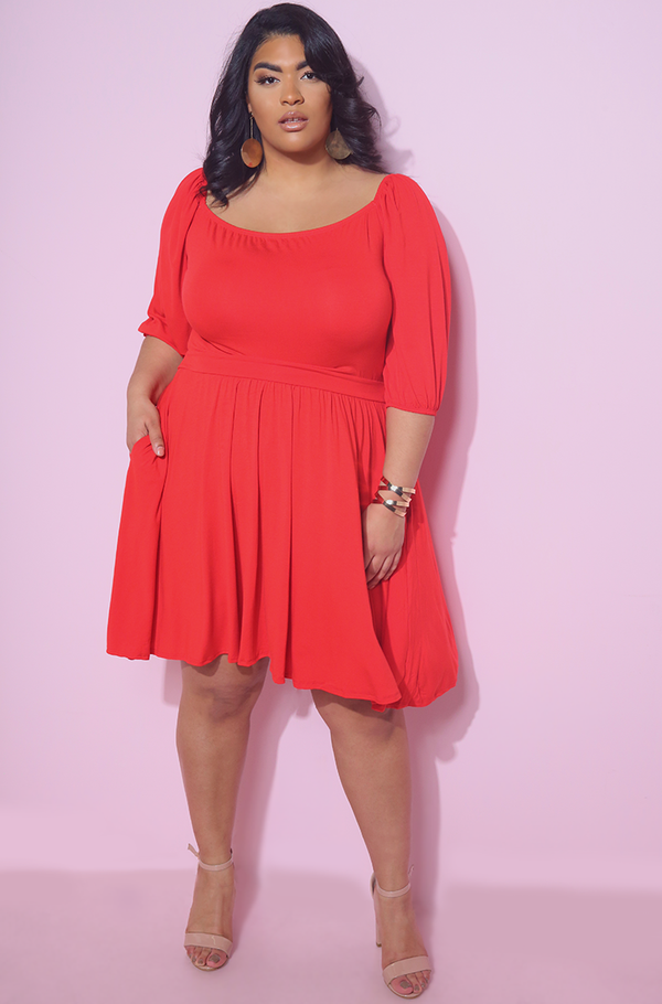 Red Puff Sleeves Squared Skater Mini Dress Plus Sizes