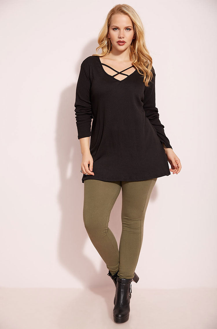 Black Caged Long Sleeve Top plus sizes