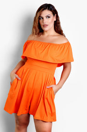 Orange Over The Shoulder Ruffled Jumpsuit Plus Sizes