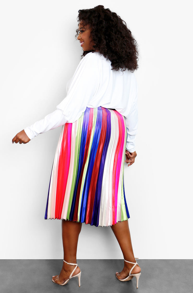 Rainbow Multi-Color Pleated Midi Skater Skirt