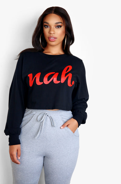 Black Graphic Long Sleeve Cropped T-Shirt Plus Sizes