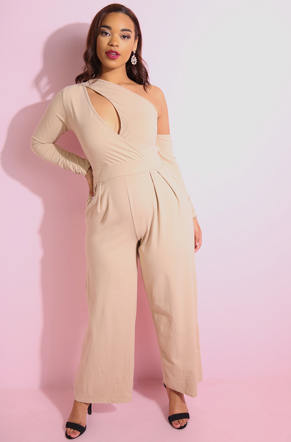 Nude Asymmetrical Wide Leg Jumpsuit plus sizes