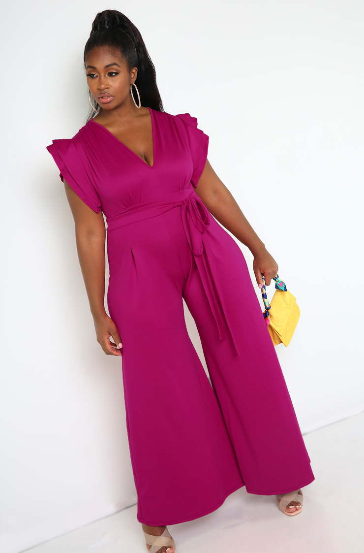 Fuchsia Ruffled Sleeves Wide Leg Jumpsuit Plus Sizes