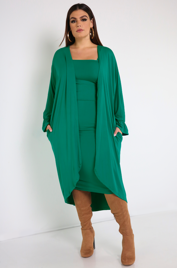 Turquoise  Bell Sleeve Cardigan With Pockets Plus Sizes