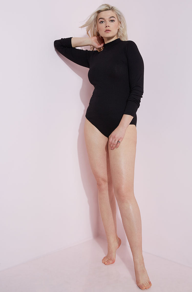Black Turtleneck Bodysuit plus sizes
