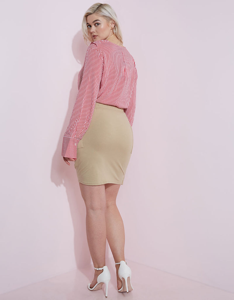Nude Asymmetrical Bodycon Mini Skirt Plus Sizes