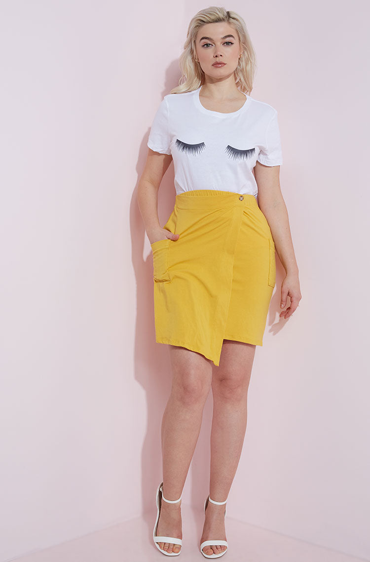 Mustard Asymmetrical Bodycon Mini Skirt Plus Sizes