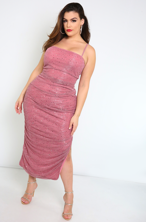 Mauve Sparkly Ruched High Slit Midi Dress