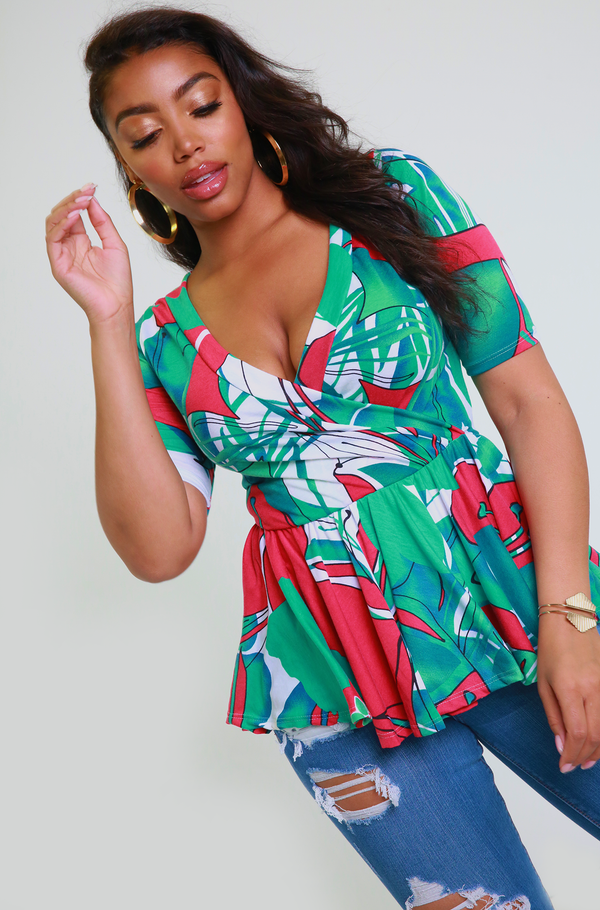 Green Over The Shoulder Peplum Top Plus Sizes